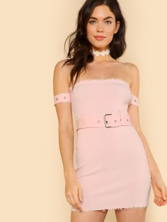 Raw Hem Denim Off Shoulder Dress with Buckle Belt Waist PINK
