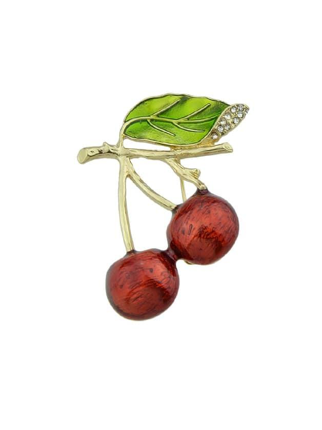Enamel Cherry Brooch hollow enamel christmas bell floral brooch