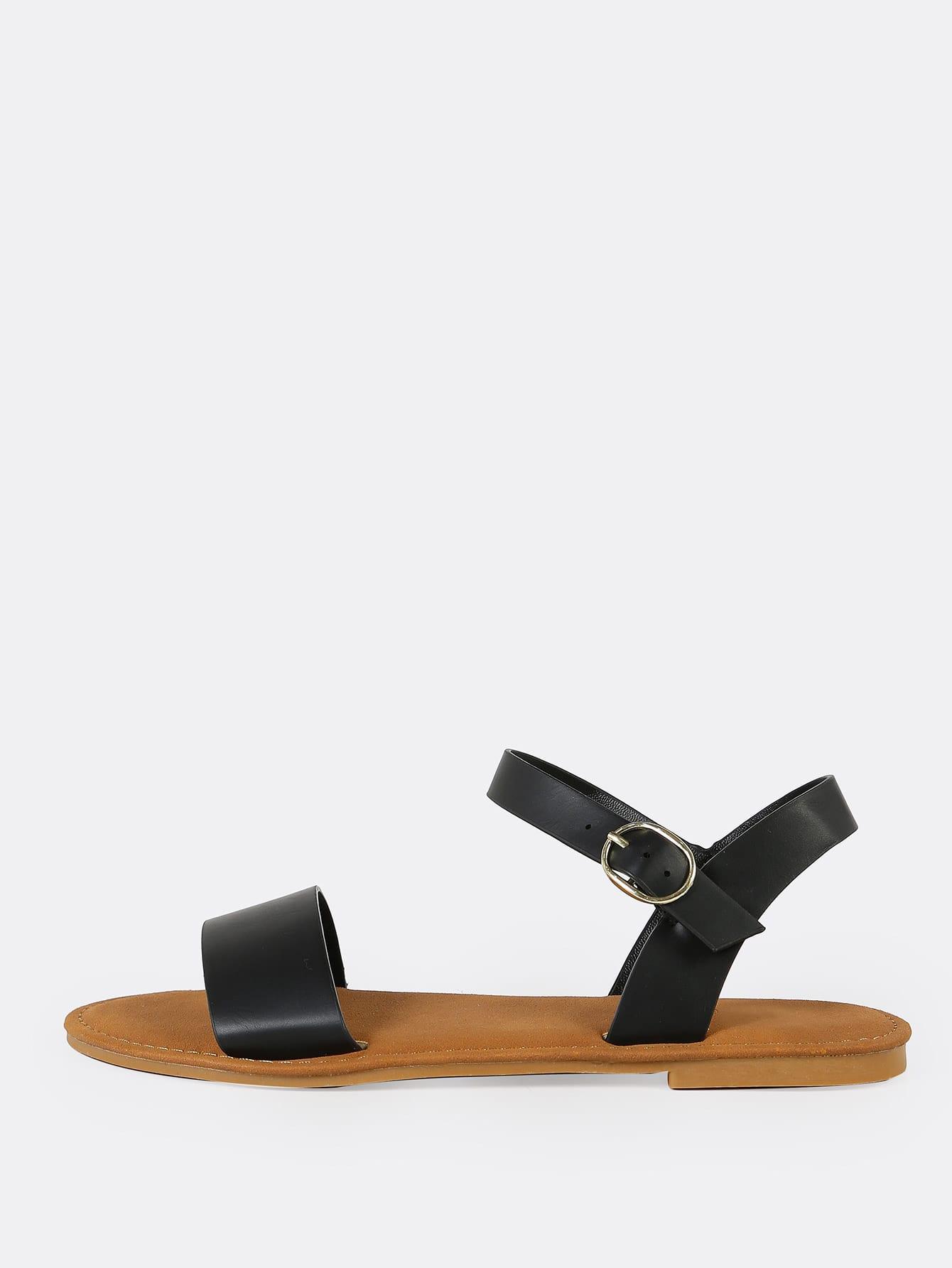 Купить Однополосный ремешок на лодыжке Flat Sandal BLACK, null, SheIn