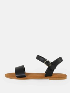 Single Band Ankle Strap Flat Sandal BLACK