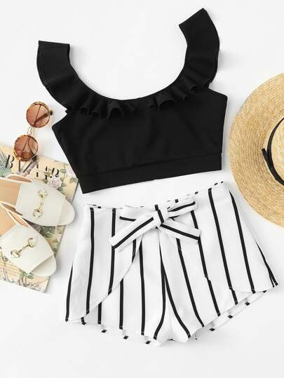 Ruffle Crop Top & Knot Striped Shorts Set