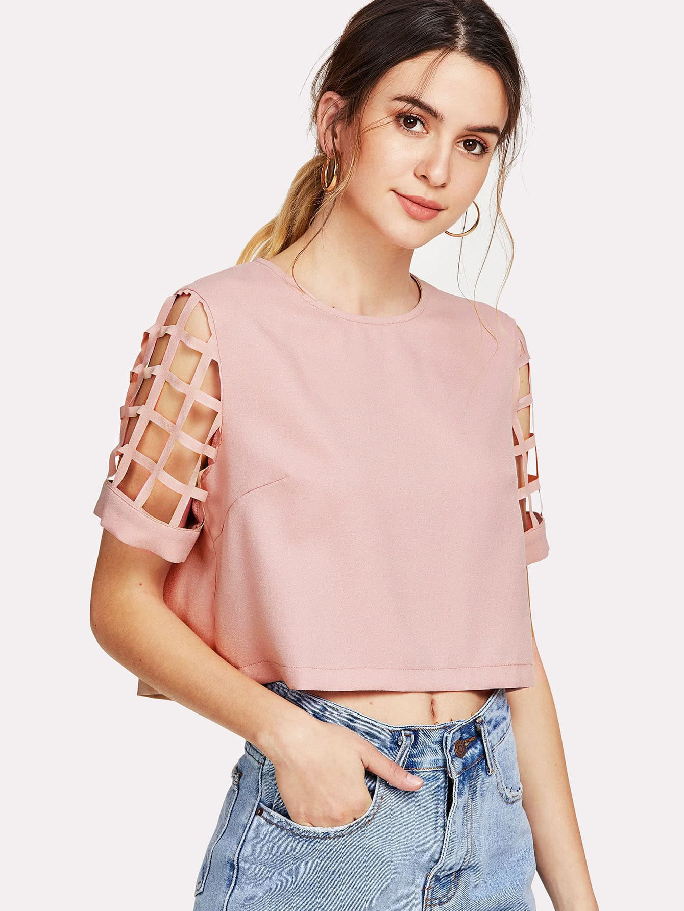 Geo Cut Sleeve Crop Top колесные диски tech line 632 6 5х16 5х105 d56 6 ет39 s ch