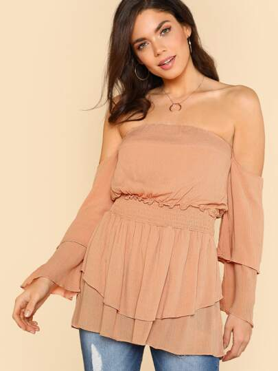 Off Shoulder Trumpet Sleeve Smock Dress ROSE