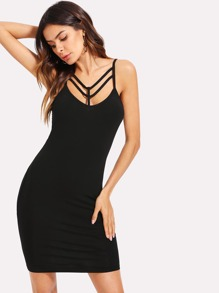 Strappy Front Solid Dress
