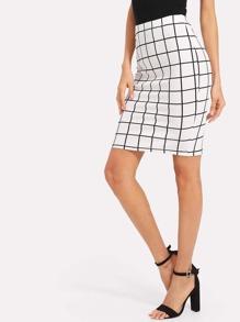 Slit Back Grid Pencil Skirt