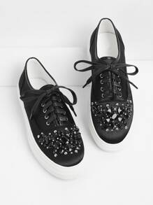 Rhinestone Lace Up Sneakers