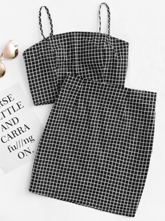 Grid Print Zip Back Cami Top And Skirt Co-Ord