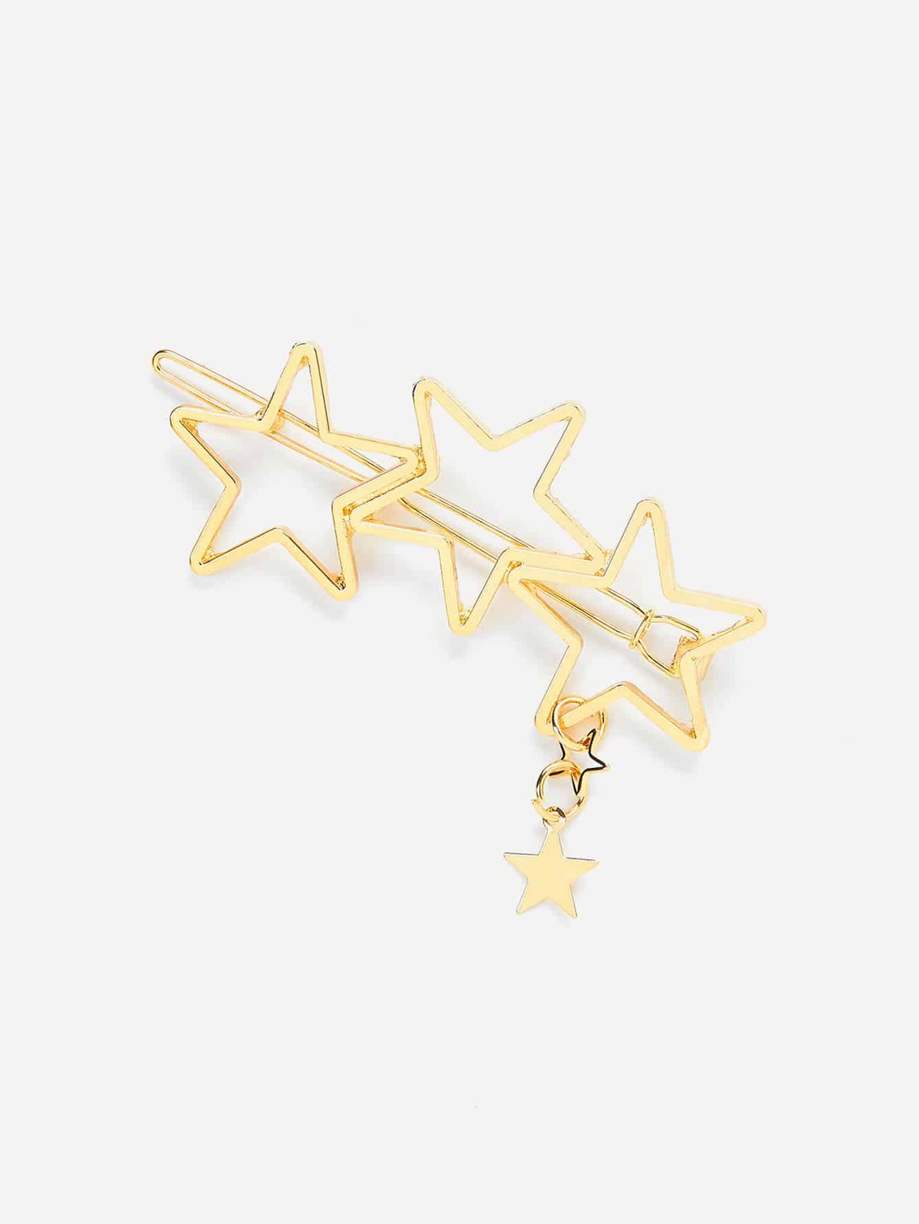 Three Hollow Star Design Hair Clip hollow star