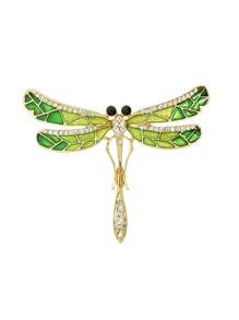 Enamel Rhinestone Dragonfly Brooch