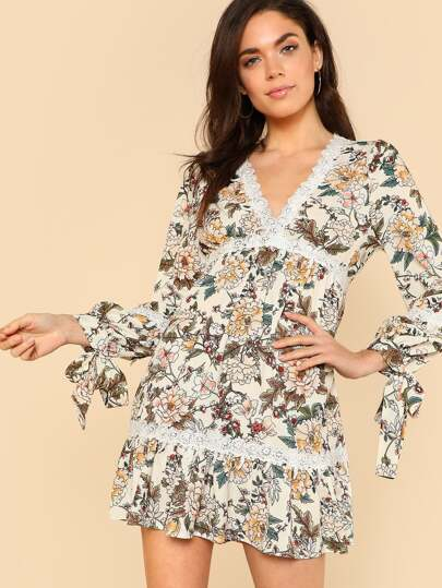 Surplice Neck Lace Insert Floral Dress