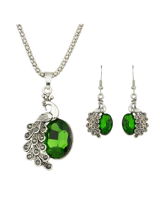 Green Jewelry Set Peacock Necklace And Earrings