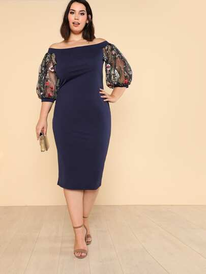 Bardot Pencil Dress With Embroidered Mesh Sleeve