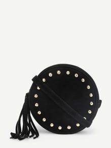 Studded Detail Round PU Crossbody Bag