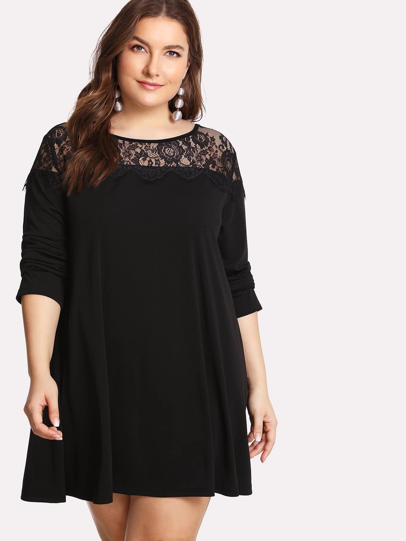 Floral Lace Insert Swing Dress lace velvet swing dress