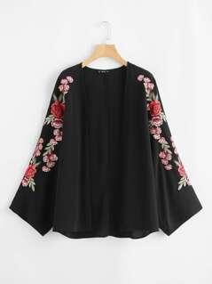 Embroidered Sleeve Open Front Kimono
