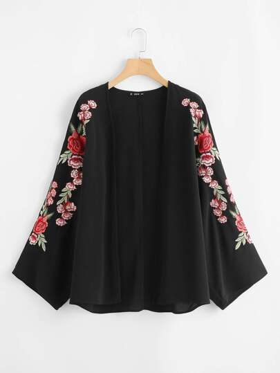 Embroidered Sleeve Open Front Kimono
