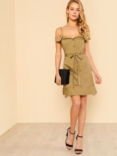 Shoulder Cut Out Button Up Dress with Tie Waist KHAKI