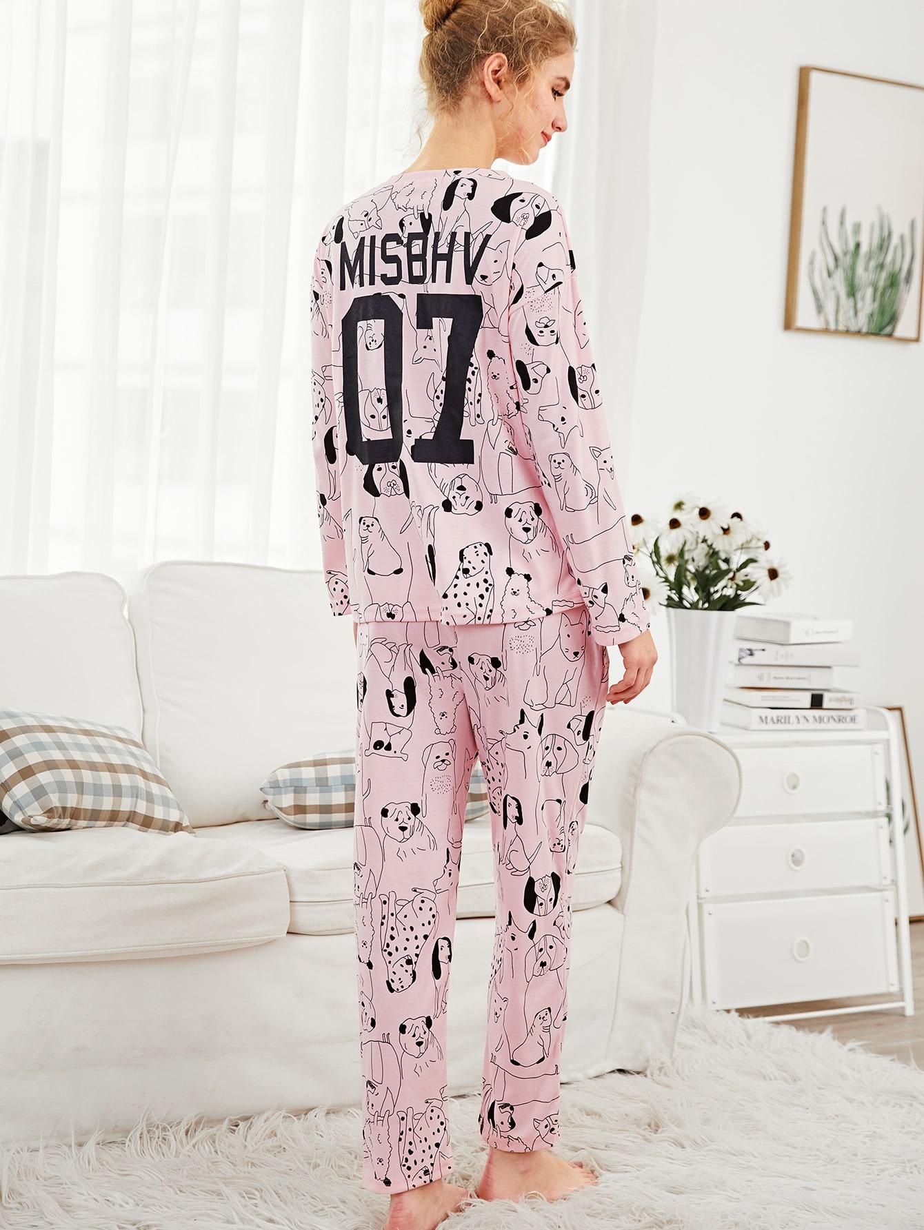 Allover Dog Print Tee & Pants PJ Set dog print tee and floral pants pj set