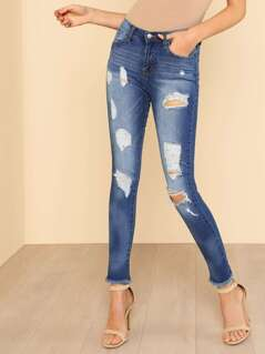 Medium Wash Distressed Ripped Raw Hem Jeans DENIM