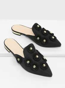 Studded Decorated Pointed Toe Flats
