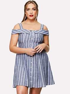 Button Through Cold Shoulder Striped Dress