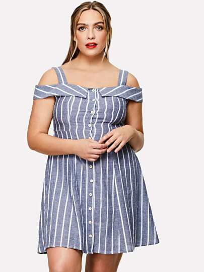Button Through Cold Shoulder Striped Dress