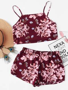 Flower Print Knot Cami Top And Shorts Set