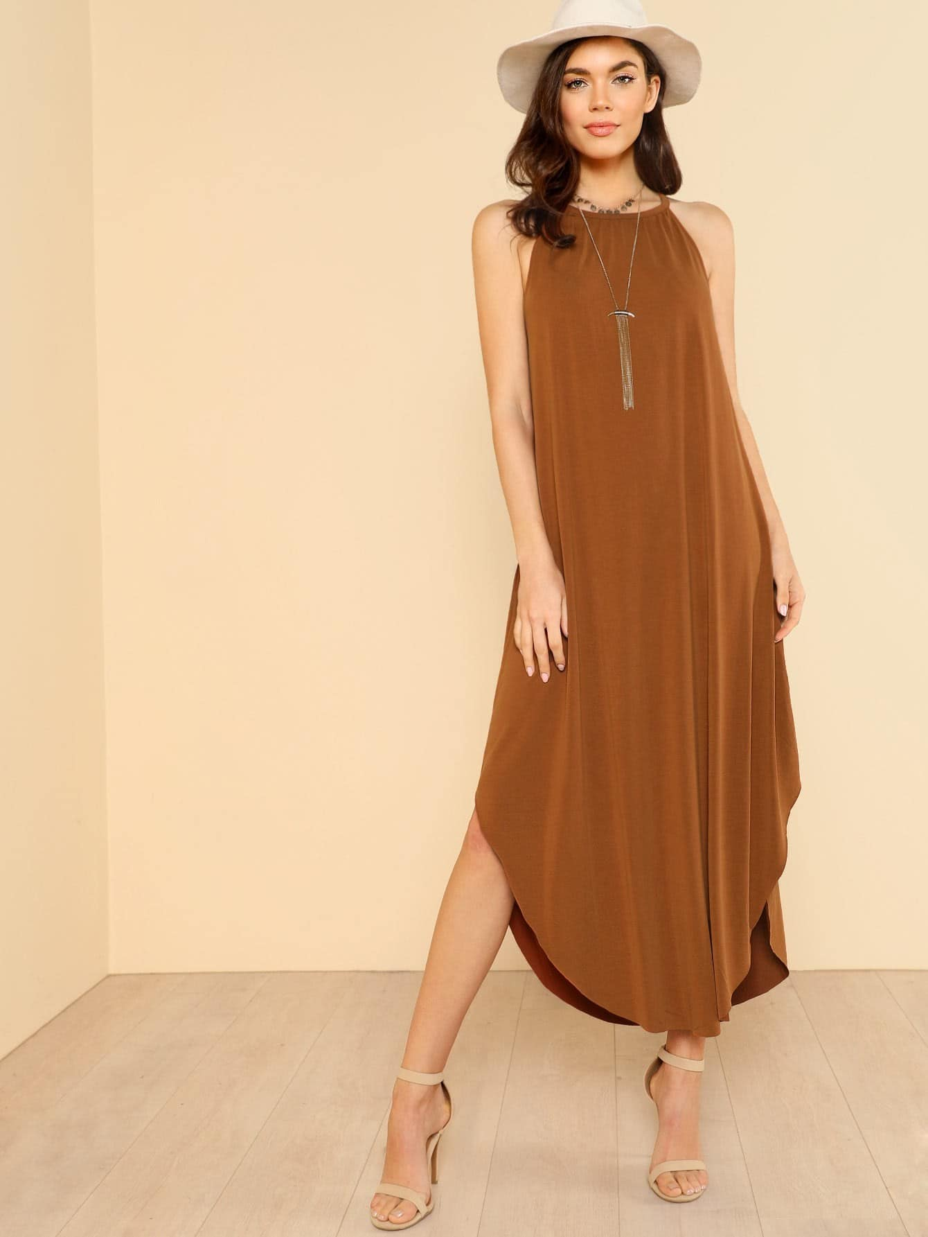 Keyhole Back Halter Curved Hem Dress batwing sleeve pocket side curved hem textured dress