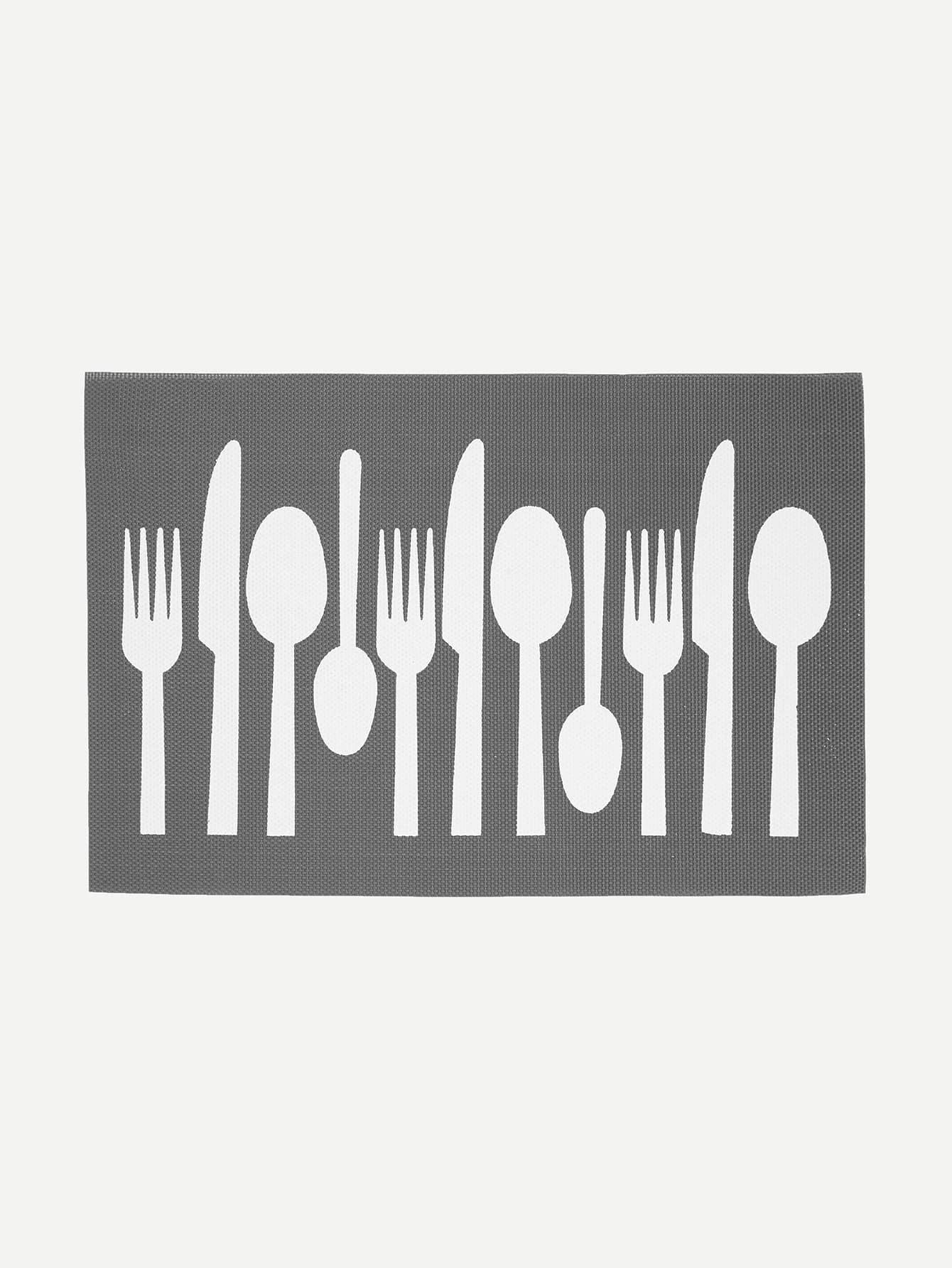 Fork & Knife & Spoon Print Table Mat