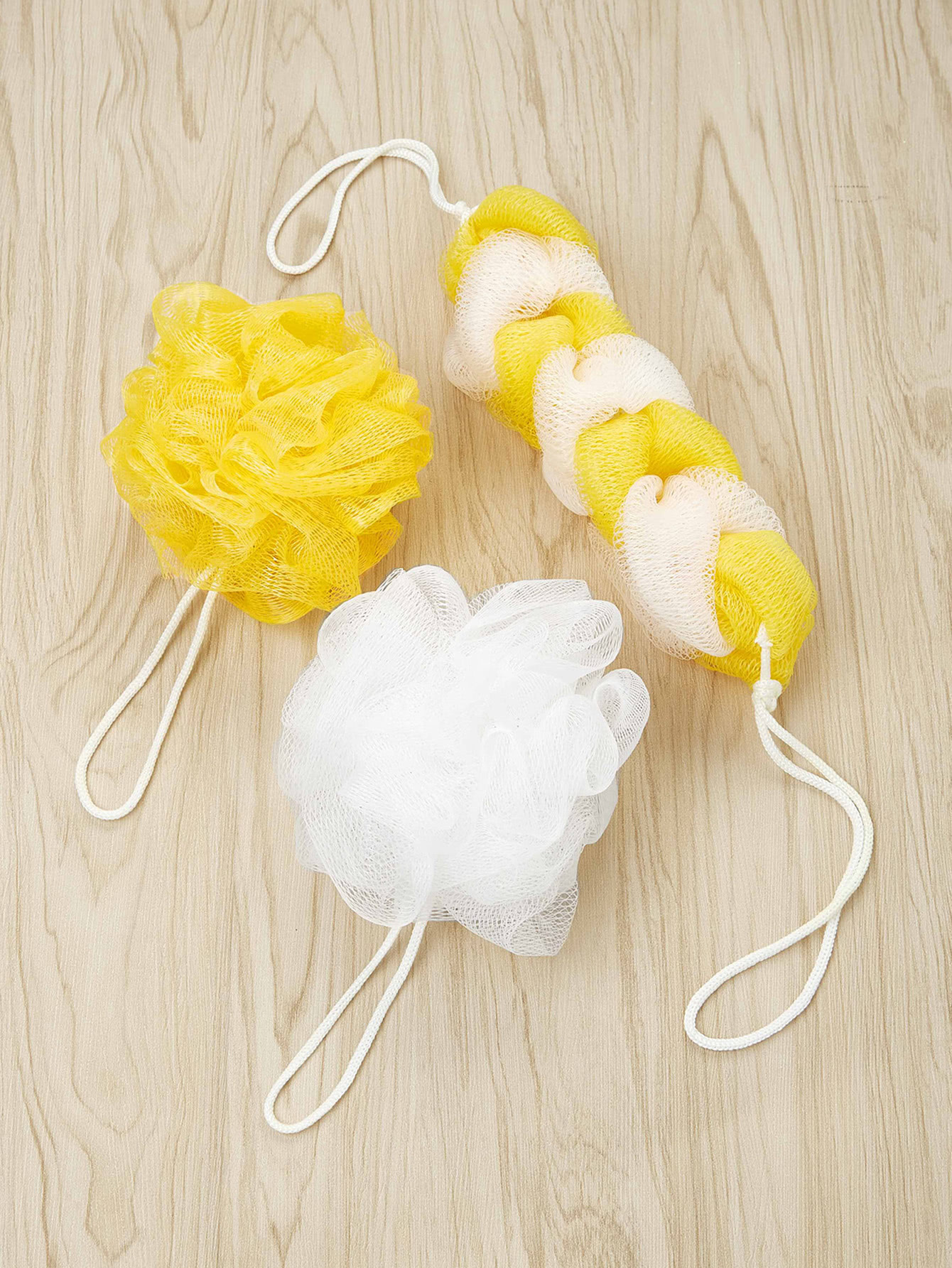 3Pcs Bath Puff Sponge Mesh Net Bath Balls Set