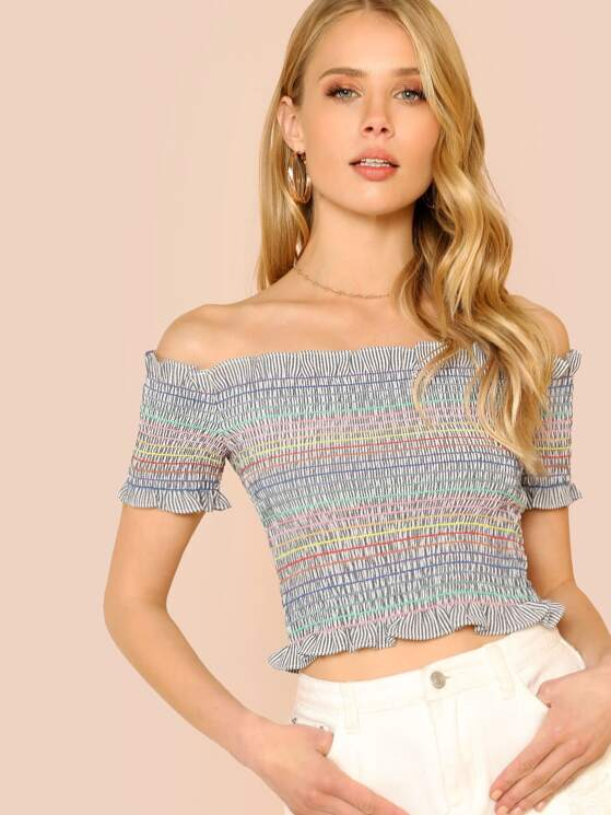 573f5811c80f2 Rainbow Stripe Shirred Off Shoulder Crop Top with Ruffle Trim NAVY WHITE  MULTI
