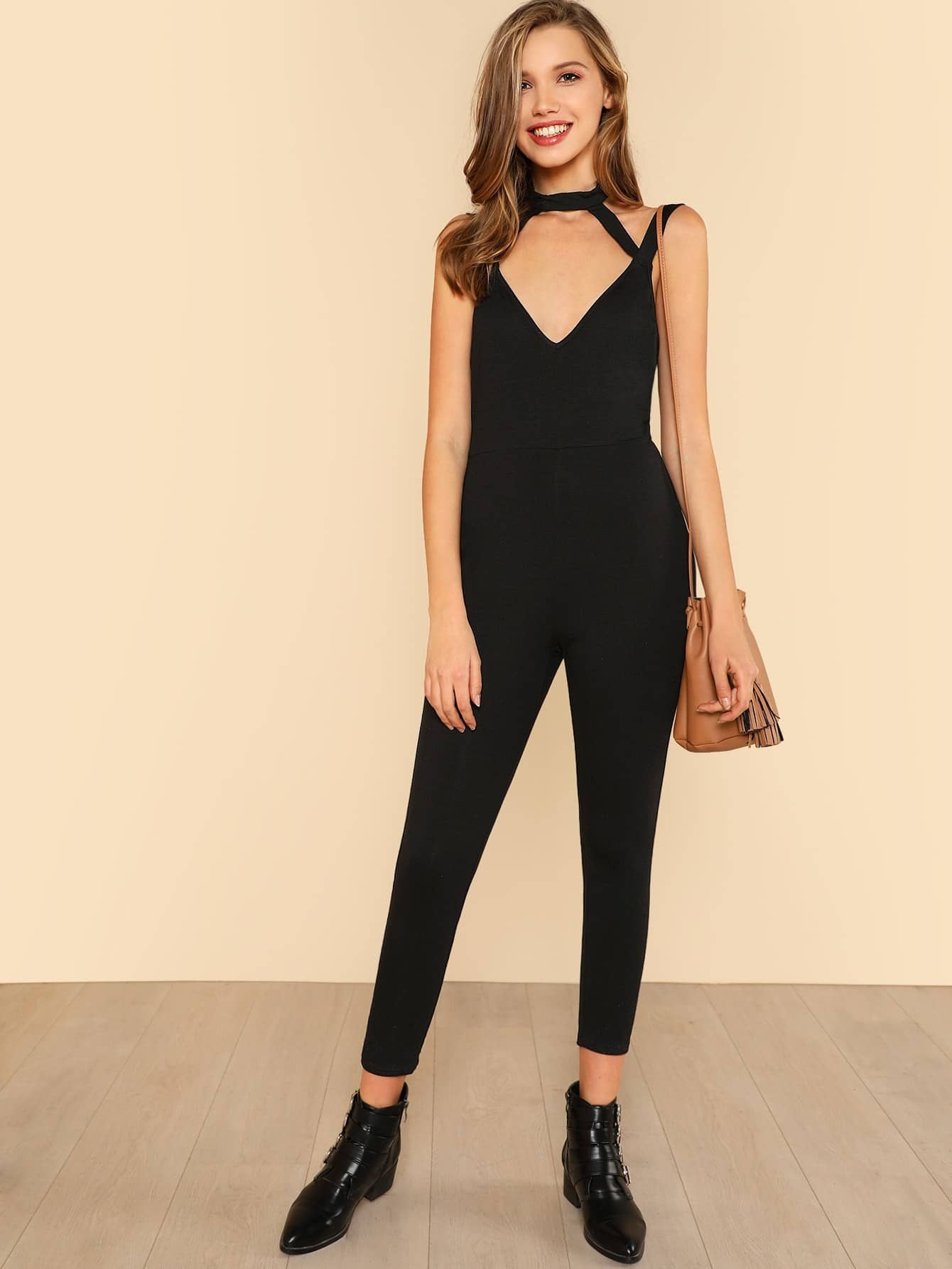 Cut Out Front Open Back Skinny Jumpsuit open back fit