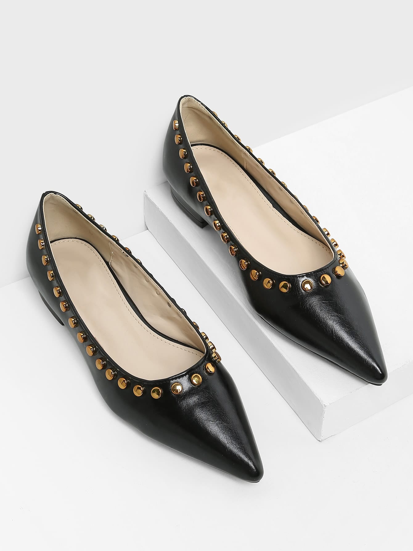 Studded Detail Pointed Toe Flats майки спортивные diamond майка спортивная