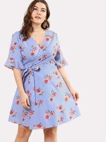 Flounce Sleeve Mixed Print Wrap Dress