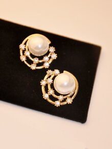 Faux Pearl Stud Earrings 1pair