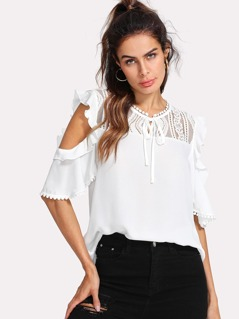 Flounce Embellished Tied Neck Top