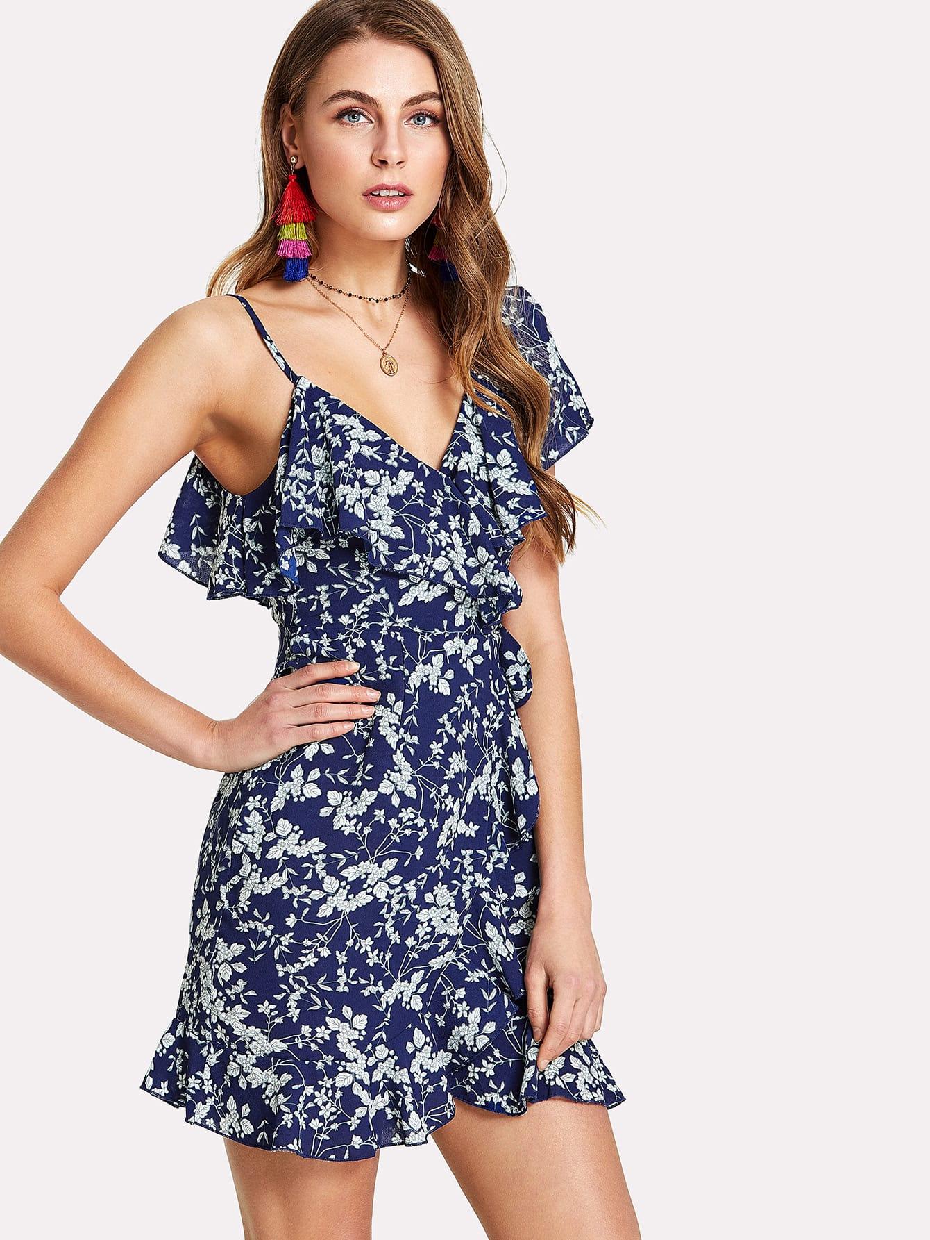 Купить Модное платье с оборкой и цветочным принтом, Nastya, SheIn