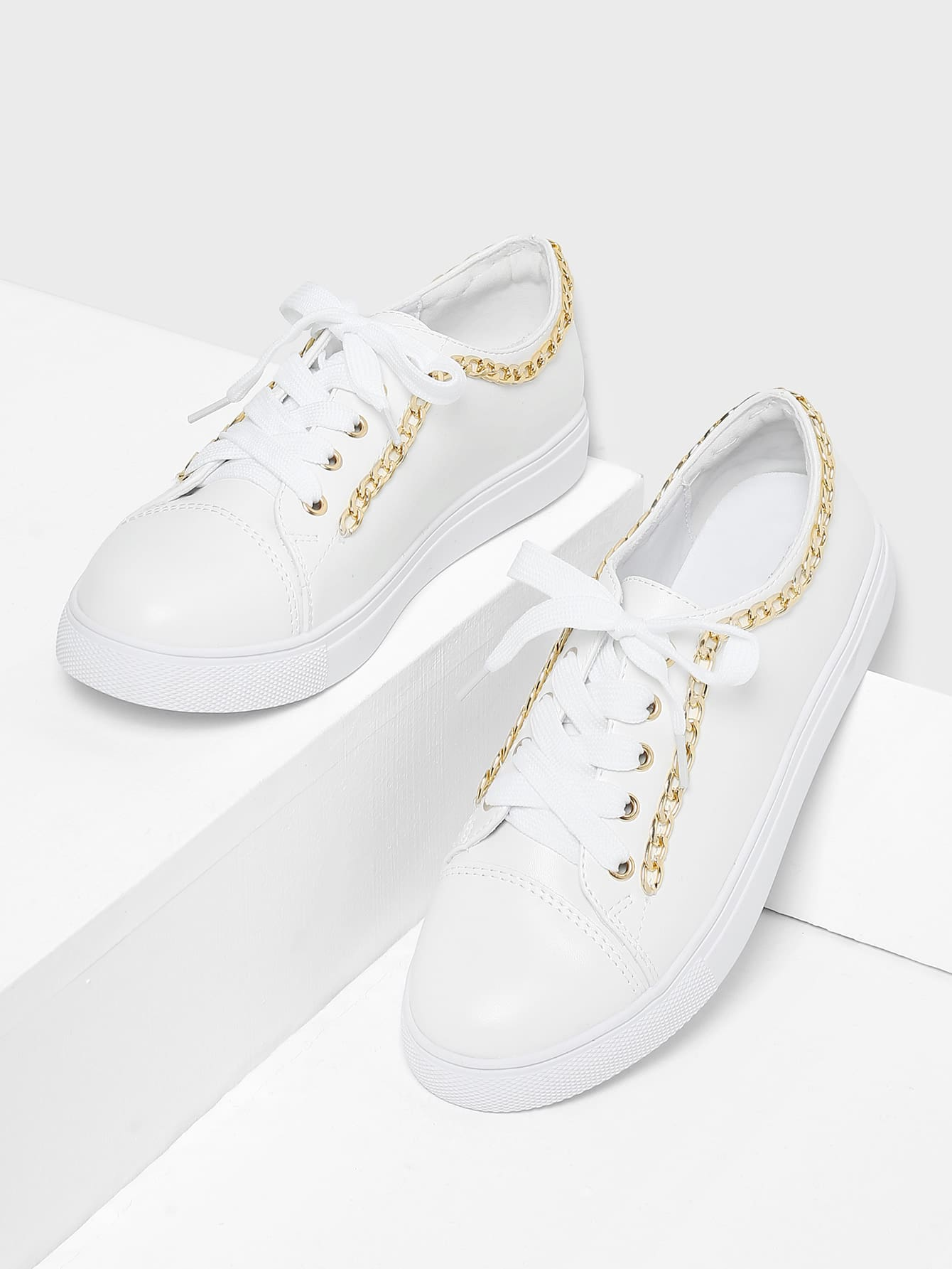 Chain Detail Lace Up Sneakers warehouse 27776