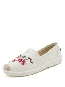 Floral Embroidered Cap Toe Slip On Shoes