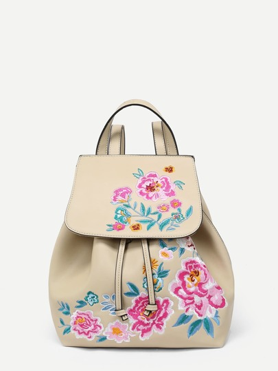 Flower Pattern PU Backpack