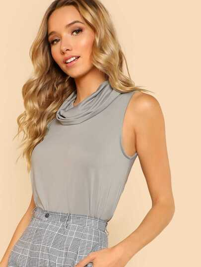 Cowl Neck Sleeveless Tee