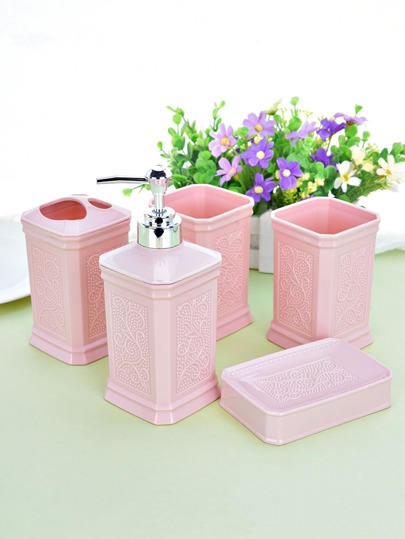 Graphic Embossed Bathroom Accessory 5pcs