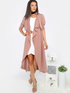 Lapel Long Sleeve Duster Coat MAUVE