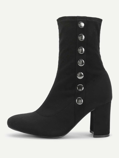 Side Button Block Heeled Suede Boots