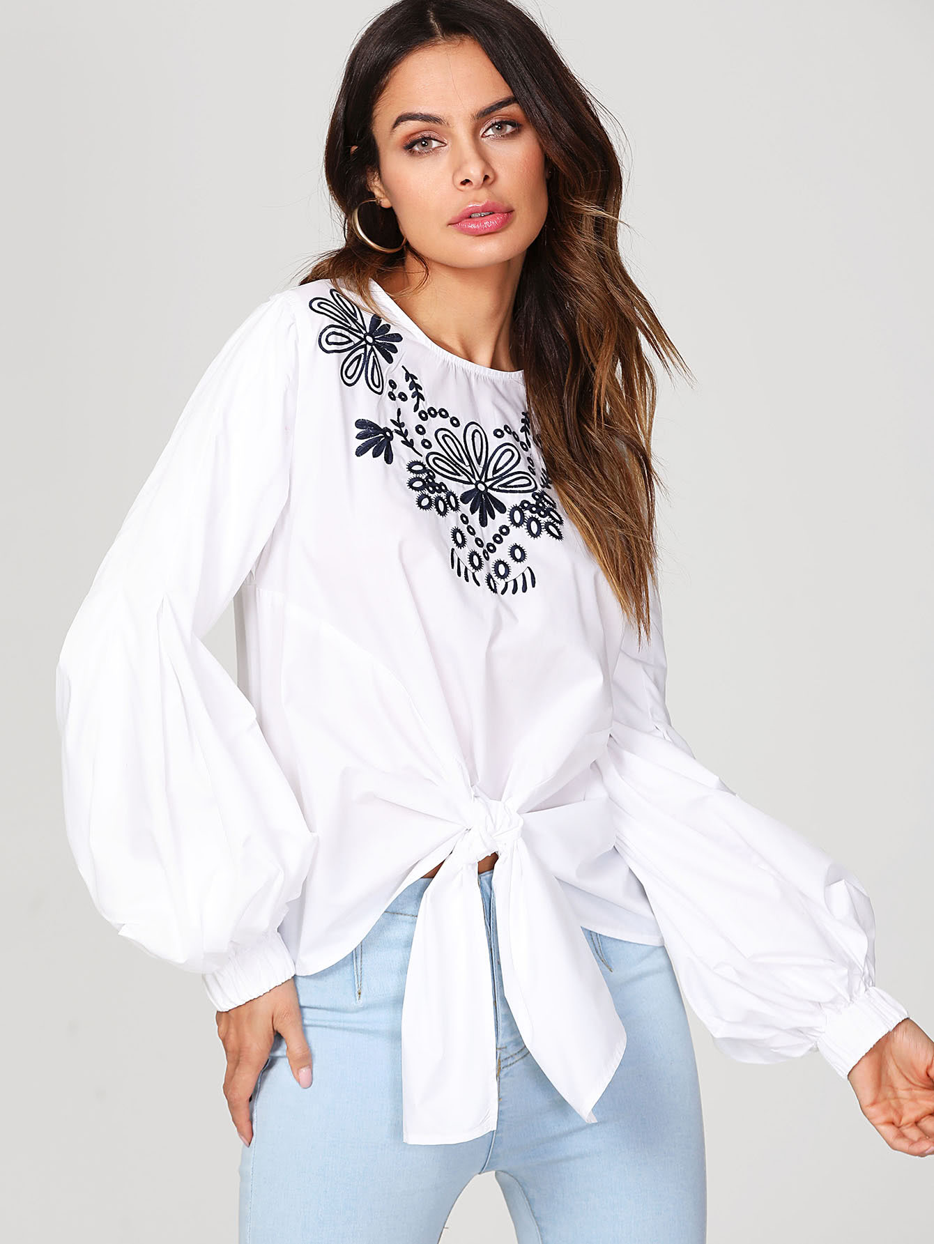 Lantern Sleeve Knot Front Embroidered Top embroidered lantern sleeve wide hem top