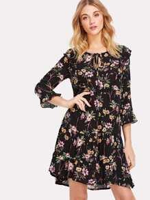 Keyhole Tie Neck Ruffle Floral Dress