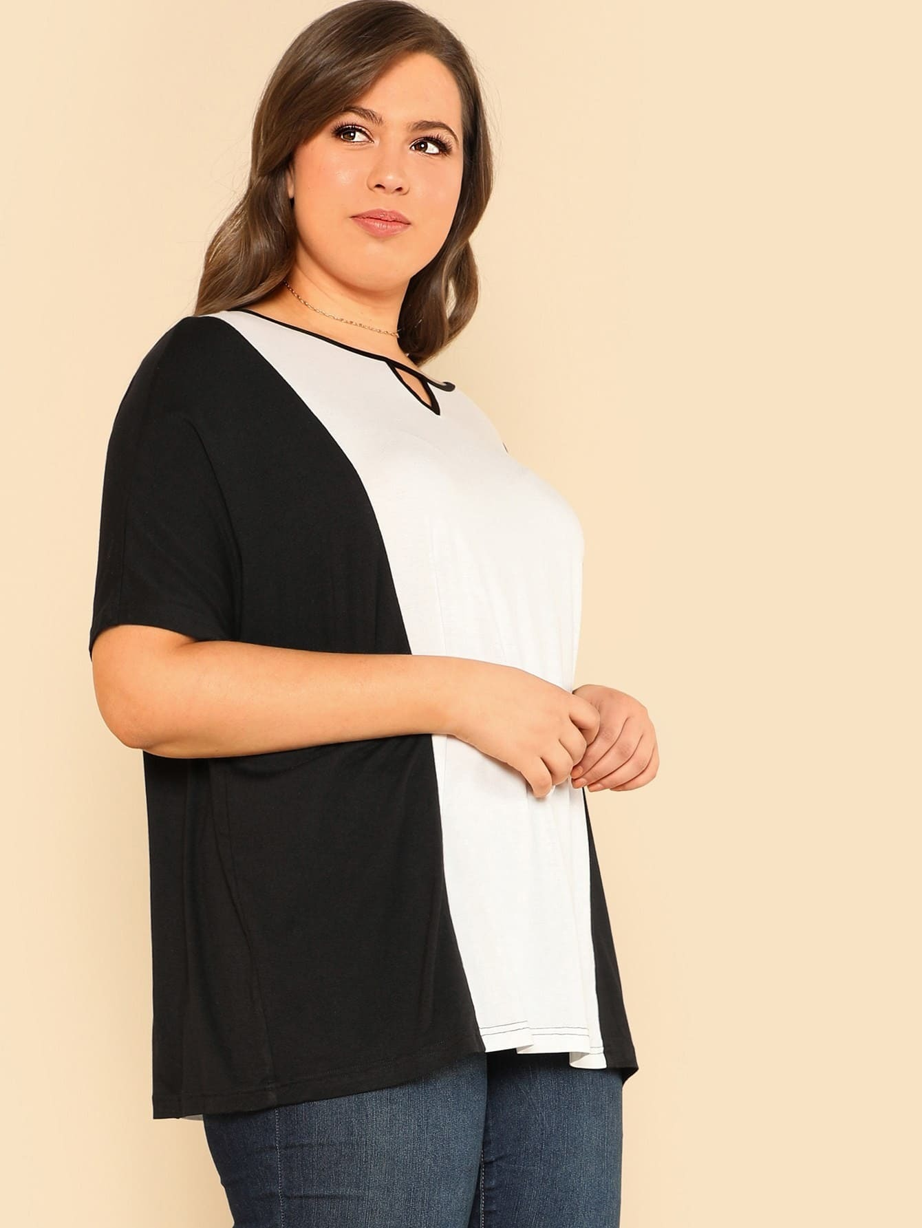 Two Tone Cut Out Neck Tee two tone drop shoulder sweatshirt