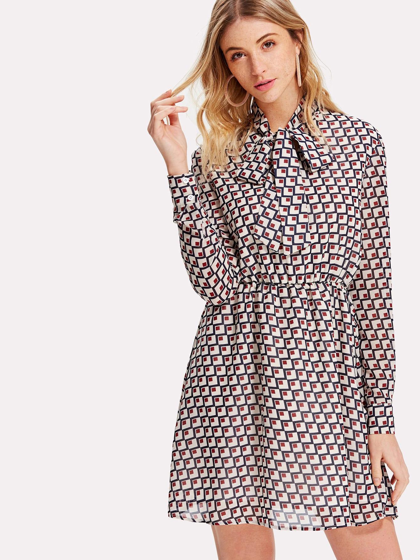 Tied Neck Geo Print Flare Dress bishop sleeve tied neck striped flare dress