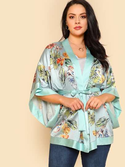Solid Trim Cutout Sleeve Belted Tropical Kimono