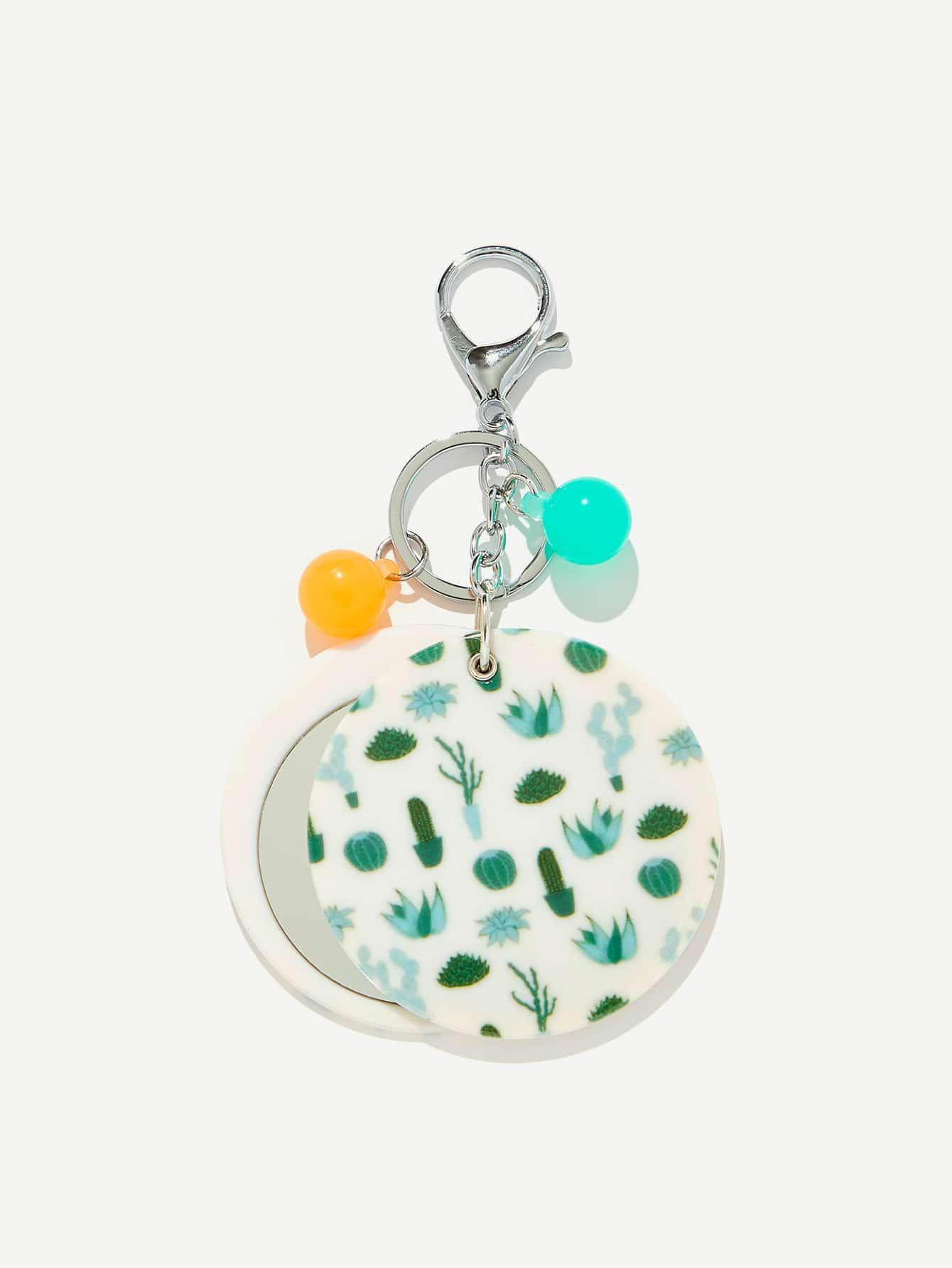 Random Color Ball Cactus Round Keychain